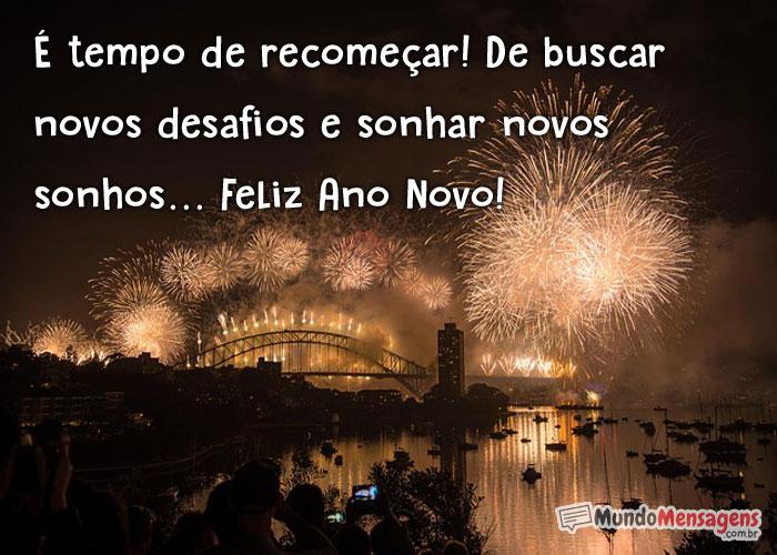 Feliz Ano Novo é tempo de recomeçar